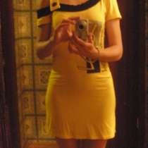 Платье трикотажное желтое с черным рисунком, в г.Запорожье