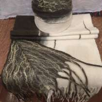Зелено-бежевый валяный шерстяной шарф, в г.Минск