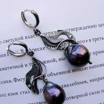 """Серебряные серьги с жемчугом """"Импровизация-3"""", в Краснодаре"""
