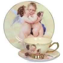 """Чайный фарфоровый набор""""Ангелочки, в Краснодаре"""