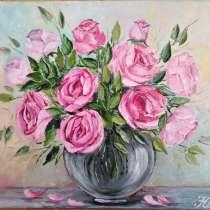 """Картина маслом """"Розы в вазе."""" Выполнена маслом на холсте, в Ростове-на-Дону"""