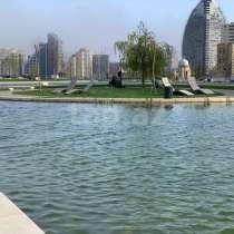 Панорама на море КАСПИИ. Солнечный АЗЕРБАЙДЖАН, в г.Баку