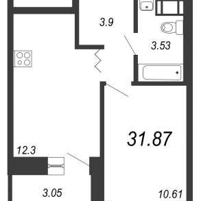 Продам 1 комнатную квартиру, 31,87 кв. м, в Санкт-Петербурге