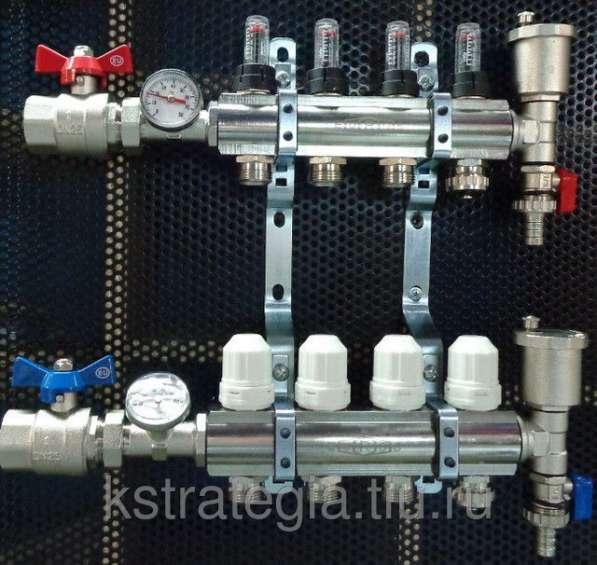 Блок коллекторный 11/4*3/4*3 выходом с расходомерами, воздхоотводчиками и дренажом