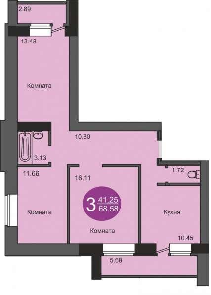 Продам в новостройке 3-х комнатную в кирпичном доме