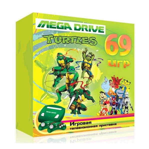 "Sega MegaDrive 2 ""Turtles"" + 2 джоя + прoводa+зарядкa+69 игр"