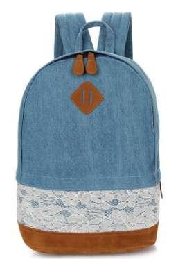 Рюкзак голубой с кружевом джинс