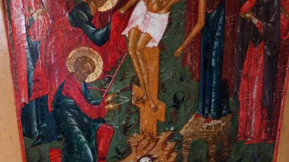 Старинный храмовый образ «Снятие с креста». Россия, XIX век в Санкт-Петербурге фото 7