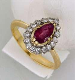 Золотое кольцо с бриллиантами и рубином, новое