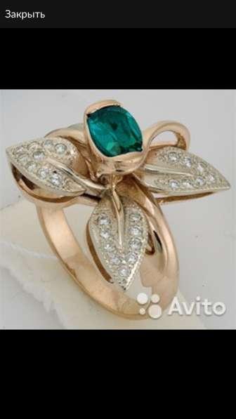 Золотое кольцо с бриллиантами и топазом, новое