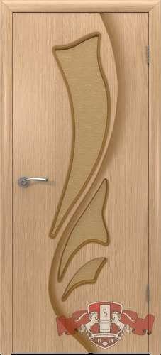 Дверь шпон светлый дуб, остекленная, 800 мм