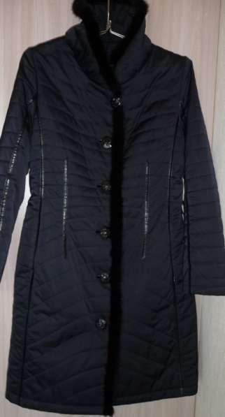 Полупальто Liloti тёмно-синее с норкой, р-46(48)