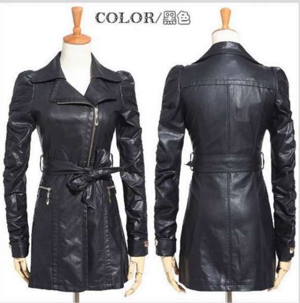 Куртка кожаная женская длинная р 46-48