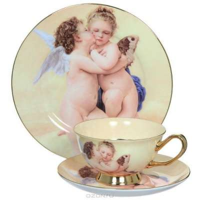 """Чайный фарфоровый набор""""Ангелочки"""