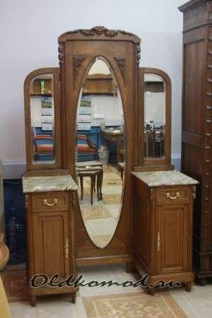 Трюмо с зеркалами, 2 тумбами и мрамором