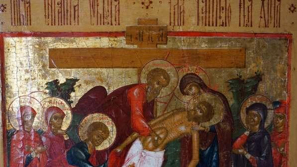 Старинный храмовый образ «Снятие с креста». Россия, XIX век в Санкт-Петербурге фото 13