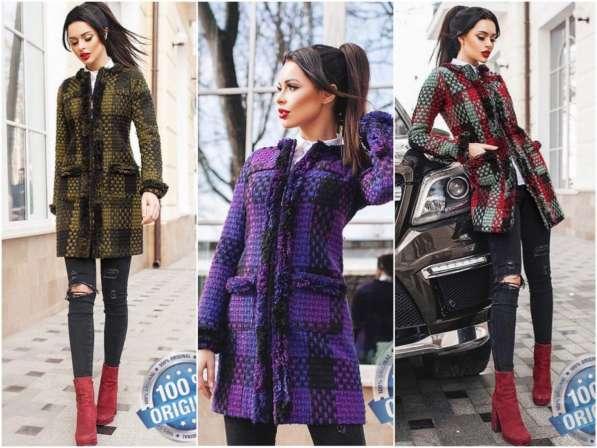 Короткое женское пальто Вязка