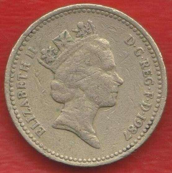 Великобритания Англия 1 фунт 1987 г. Дуб Англия Елизавета II в Орле