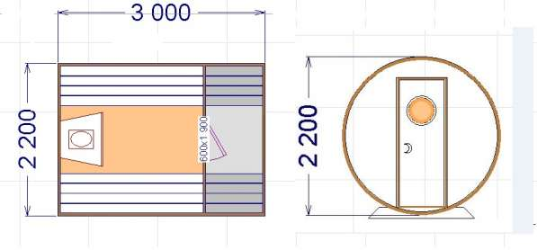Баня бочка (компакт): длина 3 м