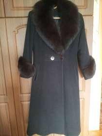 Пальто черное кашемировое с меховым воротником, в г.Алматы