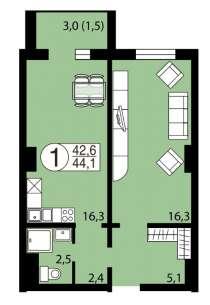 Продам 1 -комнатную квартиру ул. Вильского 34, в Красноярске