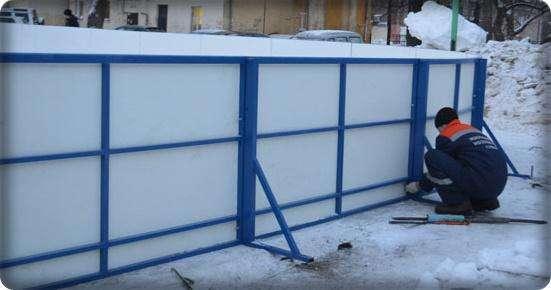 Хоккейная коробка от производителя стеклопластик, полиэтилен, фанера