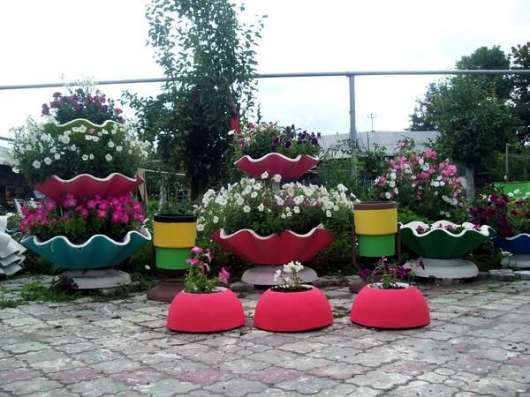 Вазон бетонный большой + малый для цветов и растений