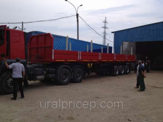 Полуприцеп бортовой 35 тонн 3-осный раздвижные коники повышенной проходимости под тягач 6х6 высота ссу 1500. трубовоз-сортиментовоз