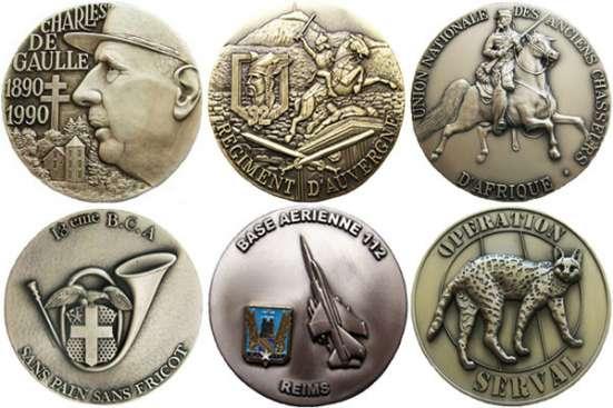 Французские полковые настольные медали