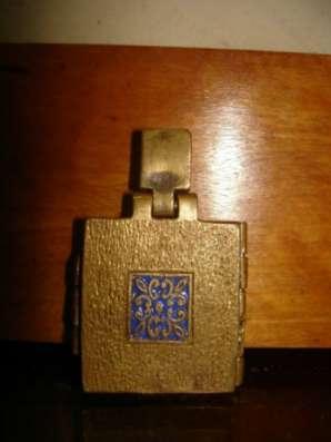 Старинный тельный складень-икона-бронза