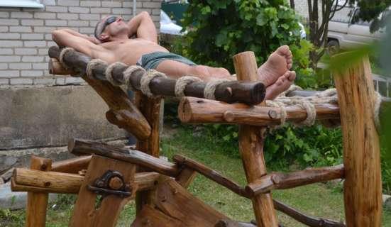 Эксклюзивные дубовые качели с гамаком, ручной работы