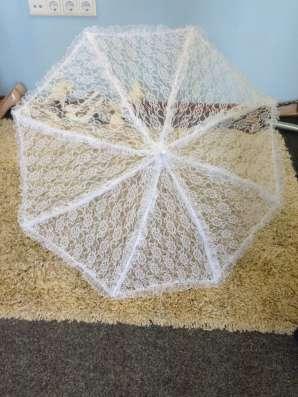 Белый кружевной зонт