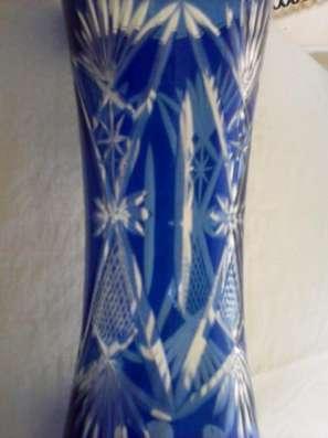 Кувшин резной синего стекла 1950 года в Тамбове Фото 3