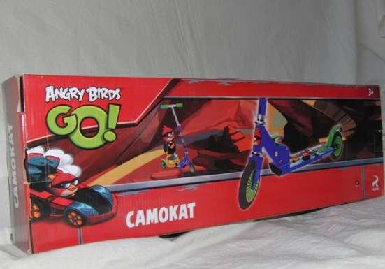 Самокат двухколесный  125 мм Angry birds ,красный , новый