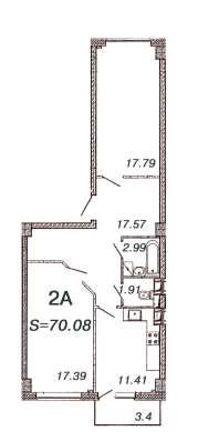 Квартира 66,9 кв. м. у метро Девяткино от застройщика