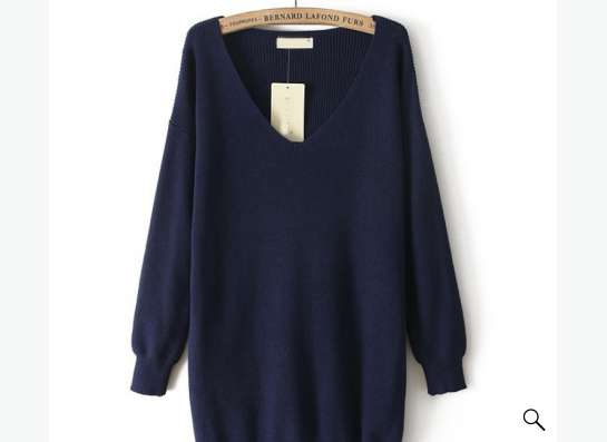 пуловер СЕРОГО цвета с V-образным вырезом